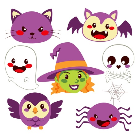 Collection of cute funny Halloween design elements  Vector