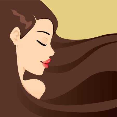 Portrait illustration of serene brunette woman with long hair and eyes closed Vector