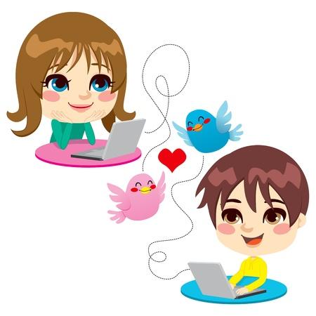 amistad: Dos niños encantadores charlando en los ordenadores portátiles que expresan mensaje dulce amor de la infancia Vectores