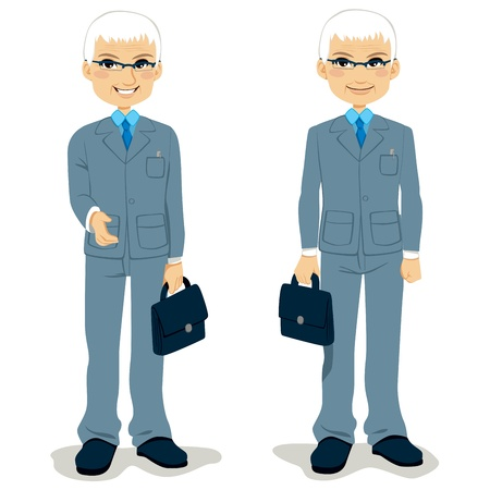 Senior Businessman standing holding briefcase and offering handshake Vector