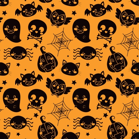 Seamless pattern of black Halloween elements on orange background Vector