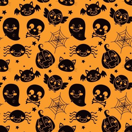 skull character: Seamless pattern of black Halloween elements on orange background