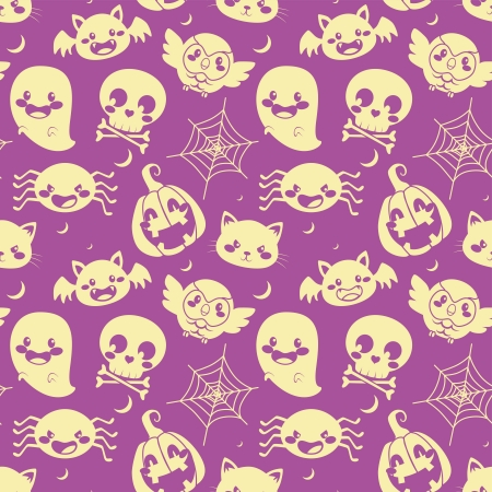 Seamless pattern of glowing Halloween elements on purple background Vector