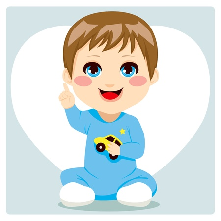baby blue: Cute smart little baby boy pointing index finger up having an idea and speaking