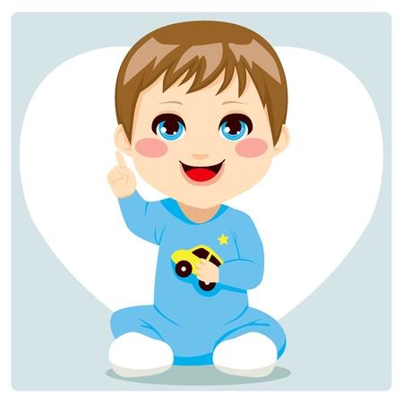 Lindo chico inteligente pequeño bebé que apunta el dedo índice encima de tener una idea y expresión oral