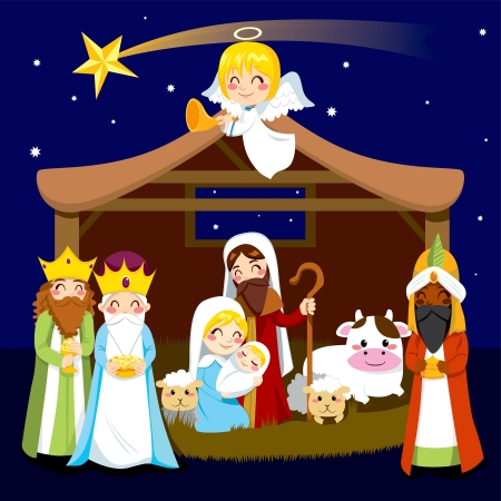 Three wise men bring presents to Jesus in Christmas Nativity Scene Vector