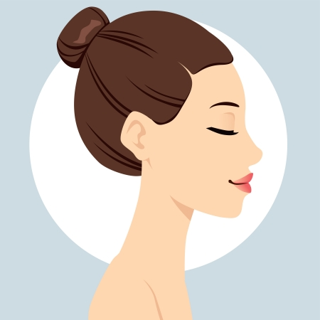 face make up: Portrait illustration of beautiful woman head with hair bun hairstyle