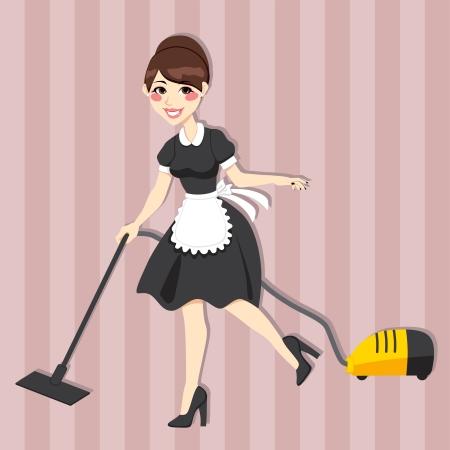 Casalinga bella con pulizia d'epoca vestito cameriera con aspirapolvere