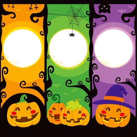 happy halloween: Three vertical banners with Pumpkins for Halloween