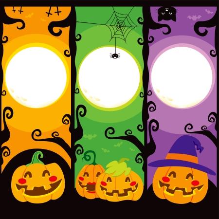 calabazas de halloween: Tres banderas verticales con calabazas para Halloween Vectores