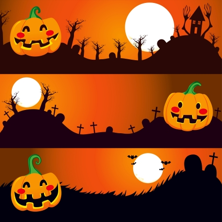 Three horizontal Halloween banners with pumpkin on a dark night Vector