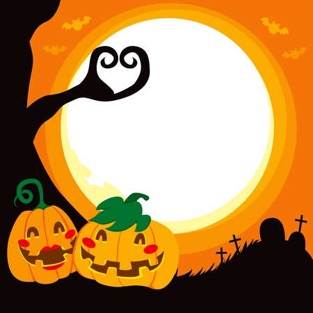 date night: Two Pumpkin in love in a romantic full moon Halloween night date Illustration