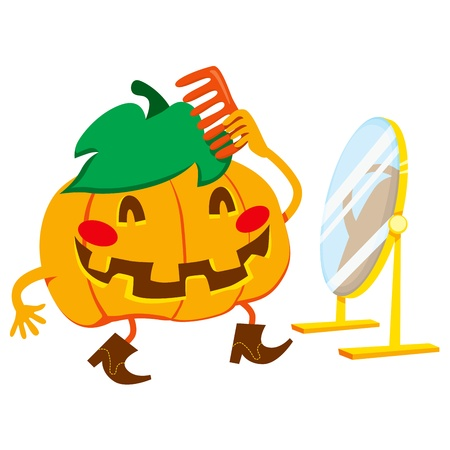 hairdo: Handsome pumpkin man with cowboy boots hairdressing in front of mirror for Halloween party date Illustration