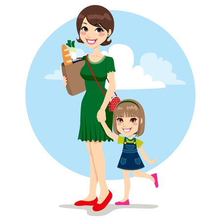 Sweet mother and cute daughter walking with bag from grocery store Vector