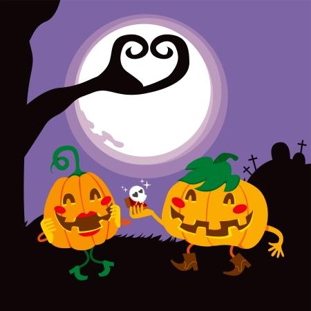 boom halloween: Funny Halloween pompoen liefhebbers paar voorstellen van het huwelijk
