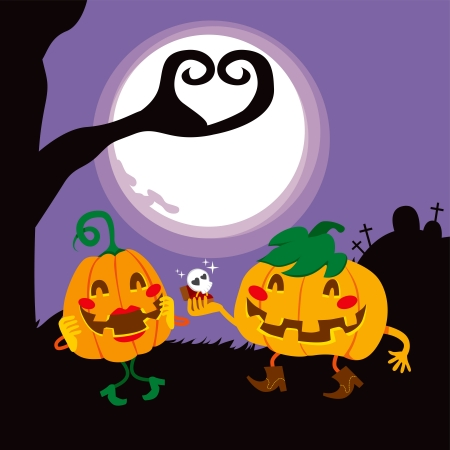 Funny Halloween pumpkin lovers couple proposing marriage Vector