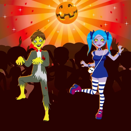happy halloween: Boy and Girl dancing in Zombie Disco Halloween party Illustration