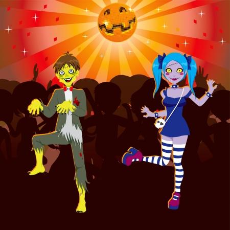 tanzen cartoon: Junge und M�dchen tanzen in Zombie Disco Halloween-Party Illustration