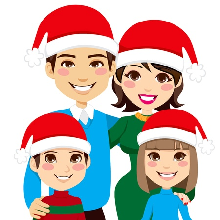 family celebration: Portrait illustration of lovely Christmas family with Santa Claus hats