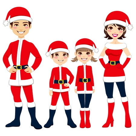 brothers: Illustration of happy family celebrating Christmas in Santa Claus clothing costume Illustration