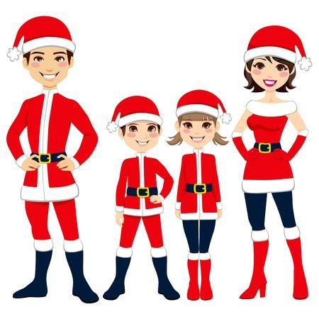 marido y mujer: Ilustraci�n de la familia feliz celebrando la Navidad en traje de Santa Claus ropa
