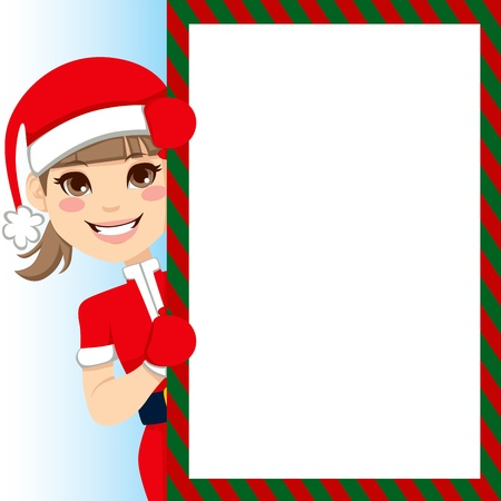 Pretty Santa Claus Girl peeking out of big blank billboard sign Vector