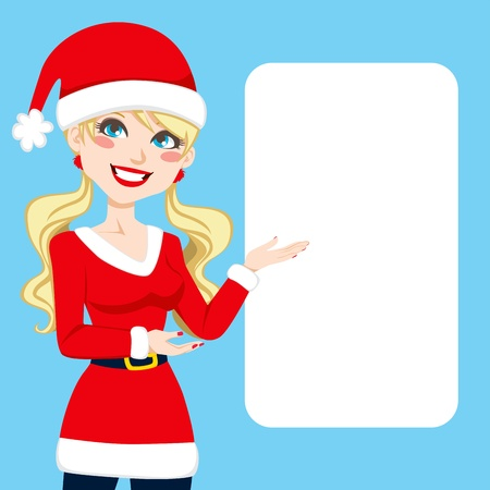 beautiful smile: Beautiful blonde woman in Santa Claus clothing showing a blank billboard sign