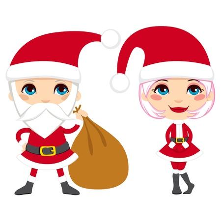 woman holding bag: Cartoon illustration of cute Santa Claus couple