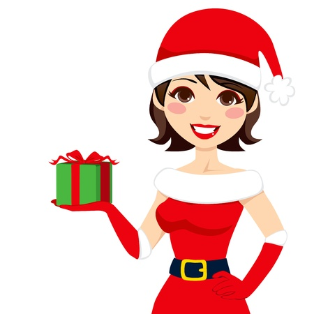 Beautiful woman in Santa Claus clothing holding Christmas present box Vector