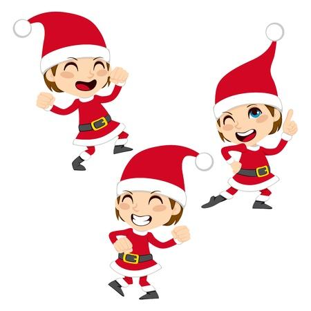 kerstmuts: Schattige kleine jongen gelukkige dansende Santa Claus Christmas dance