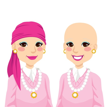 Senior woman happy smiling and positive after surviving cancer and suffering hair loss due to chemotherapy treatment Stock Vector - 15814837