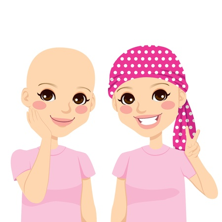 cartoon sick: Beautiful young girl happy and full of optimism after surviving cancer and losing hair due to chemotherapy treatment Illustration
