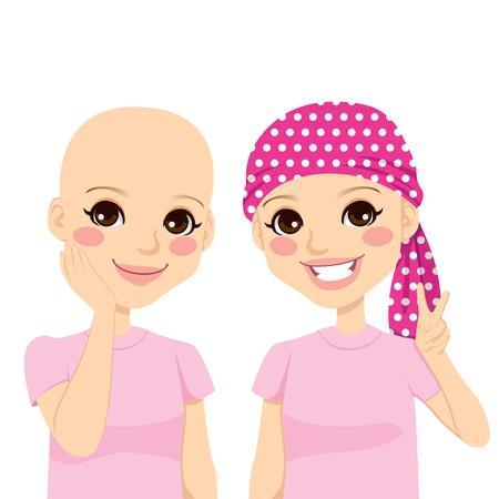 patient: Mooi jong meisje gelukkig en vol optimisme na het overleven van kanker en het verliezen van haar te wijten aan chemotherapie Stock Illustratie