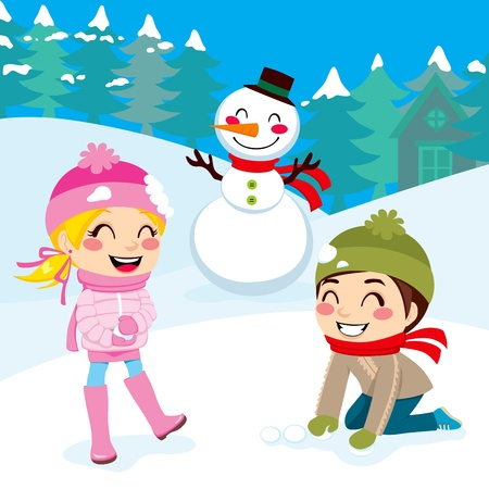 Kids playing snowball fight and making snowman outdoors on snowed winter forest background  Stock Vector - 16360685