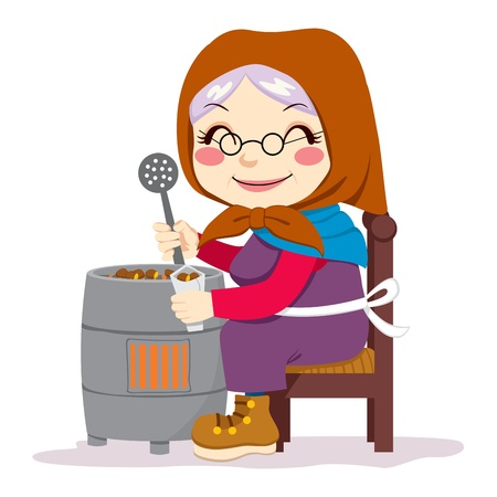 autumn woman: Old senior woman cooking traditional roasted chestnuts sitting in chair Illustration