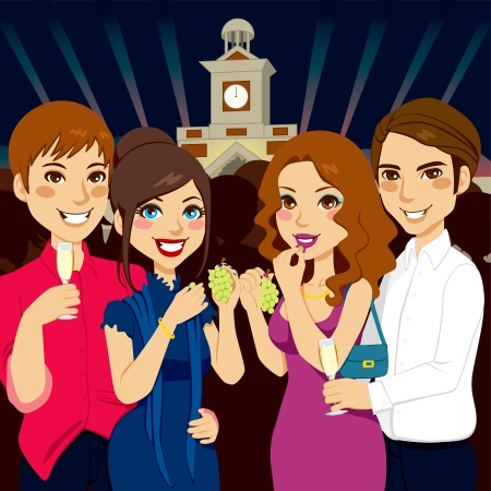 beautiful girl cartoon: Two couples celebrating New Year together eating twelve grapes and drinking champagne at Puerta del Sol in Madrid Spain