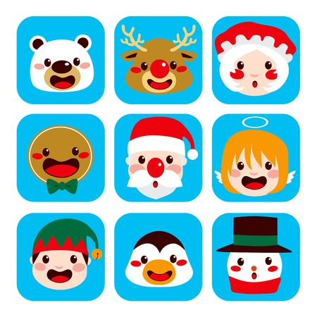 gingerbread man: Collection of funny lovely Christmas character faces