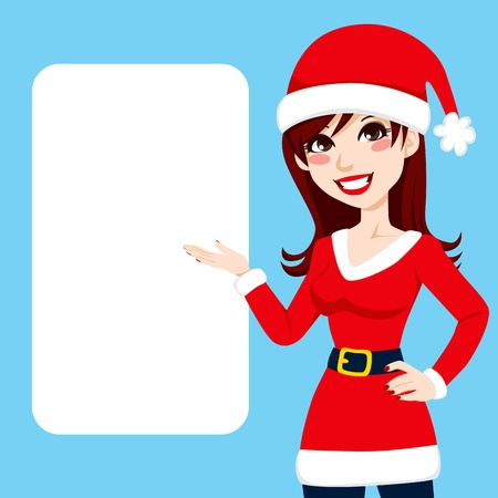 santa girl: Beautiful burgundy haired woman in Santa Claus clothing showing a blank billboard sign