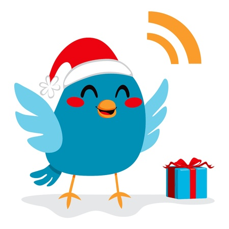tweeting: Little blue bird happy with Santa Claus hat and present box celebrating Merry Christmas Illustration
