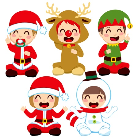 Little babies dressed in adorable Christmas costumes Stock Vector - 16360690