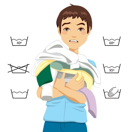 washing symbol: Confused young man having trouble doing laundry chores