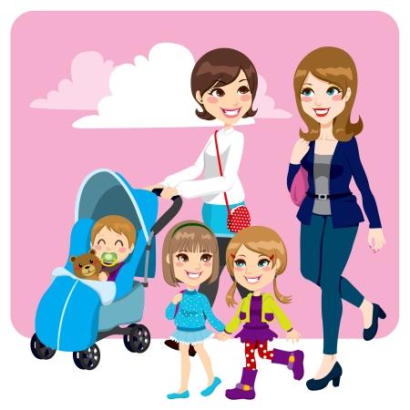 Dos amigos de la madre empujando cochecito caminar con su hijo pequeño bebé y sus hijas menores