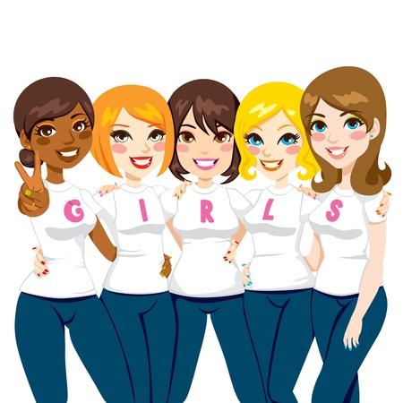 Pięć kobiet, przyjaciół stwarzających razem sobie białe koszulki podejmowania dziewcząt słowo dla pojęcia Girl Power