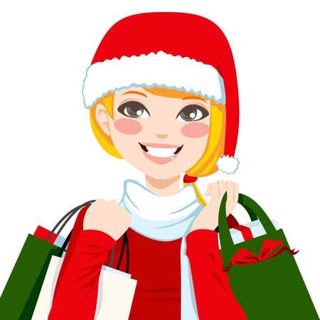 Beautiful blonde woman happy carrying Christmas shopping bags with big smile Vector