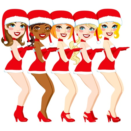 sexy santa: Five attractive women dancing performance with a sexy Santa Claus costume Illustration