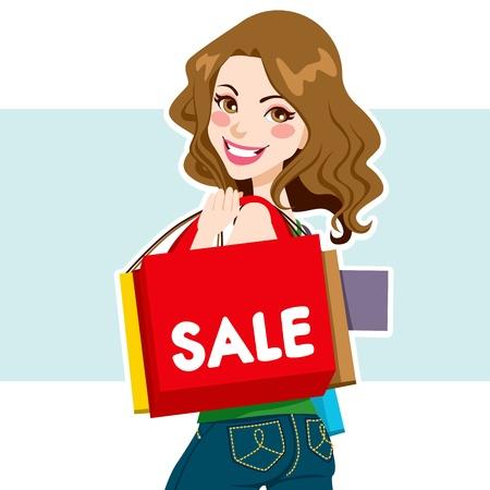 Mooie licht bruine haired vrouw met boodschappentassen uit de verkoop Vector Illustratie