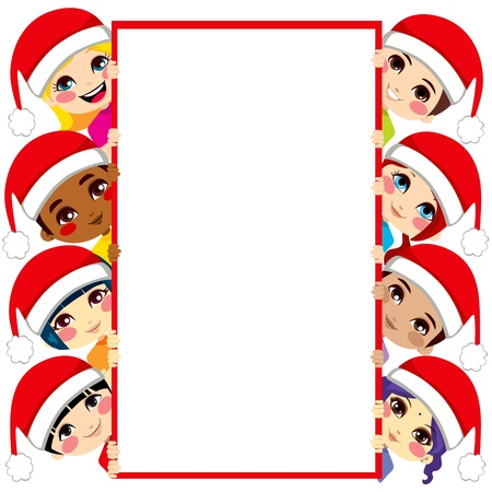 Group of multi-ethnic kids wearing Santa Claus hats holding a blank white placard with copy space for text Vector