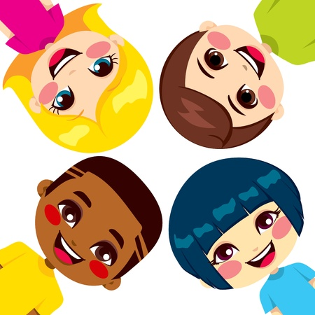 four friends: Four happy children friends from different ethnic groups Illustration