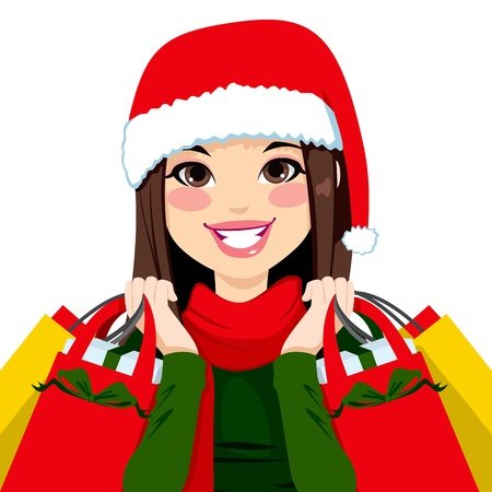 happy shopper: Pretty brunette woman happy carrying Christmas shopping bags with big smile Illustration