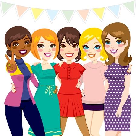 dibujos animados de mujeres: Cinco amigas se divierten juntos en una fiesta de celebraci�n